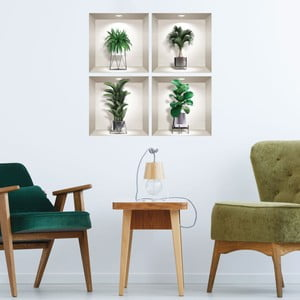 Sada 4 3D samolepiek na stenu Ambiance Indoor Plants
