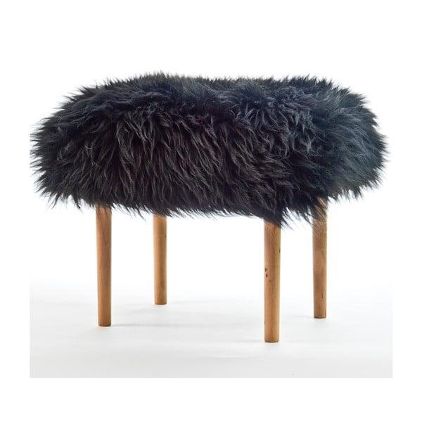 Stolička z ovčej kože Ceri Coal Black