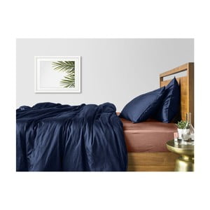 Modré bavlnené obliečky na dvojlôžko s béžovou plachtou COSAS Maro, 200×220cm