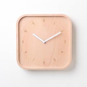 Biele hodiny z bukového dreva Qualy&CO Allday Square