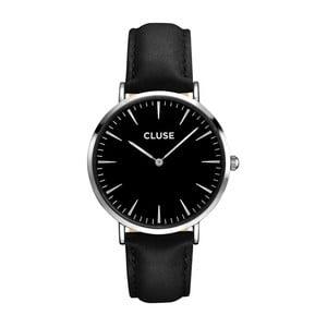 Dámske hodinky s čiernym koženým remienkom a čiernym ciferníkom Cluse La Bohéme