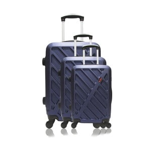 Sada 3 tmavomodrých cestovných kufrov na kolieskach Hero Roma