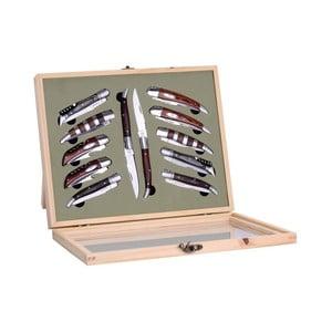 Sada 12 skladacích nožov Laguiole Cleto