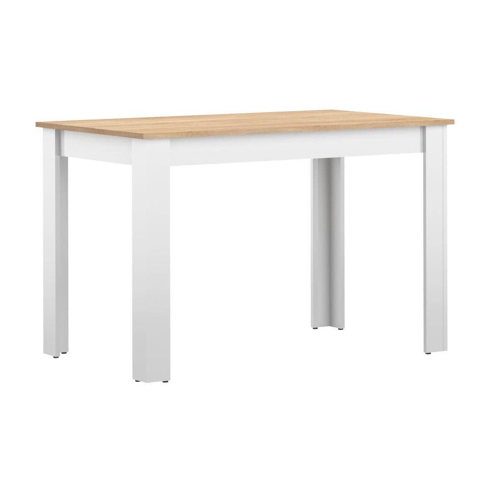 Biely jedálenský stôl s doskou v dekore bukového dreva Symbiosis Nice, 110 × 70 cm