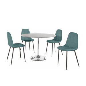 Sada okrúhleho jedálenského stola a 4 tyrkysových stoličiek Støraa Terri Concrete