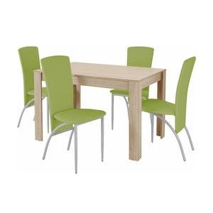 Set jedálenského stola a 4 zelených jedálenských stoličiek Støraa Lori Nevada Oak Green