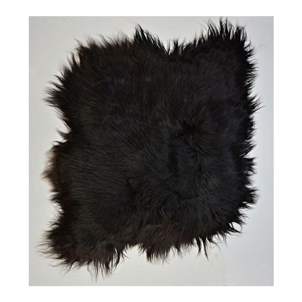 Tmavý kožušinový koberec s dlhým chlpom, 100 x 90 cm
