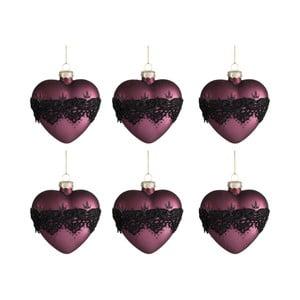 Sada 6 vianočných ozdôb v tvare srdca Auberg