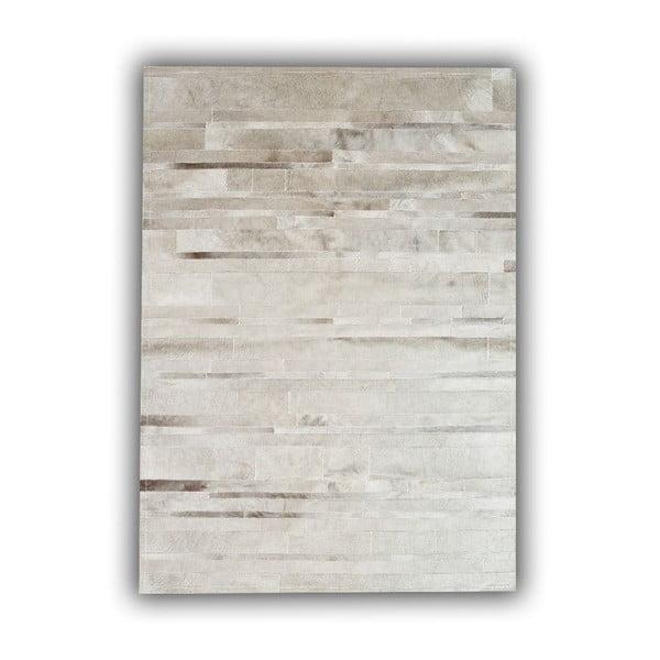 Koberec z pravej kože Grey Stripes, 140x200 cm