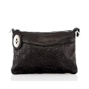 Čierna kožená listová kabelka Glorious Black Fiorella