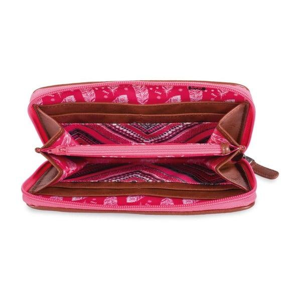 Ružovo-biela peňaženka Lois, 11 x 8 cm