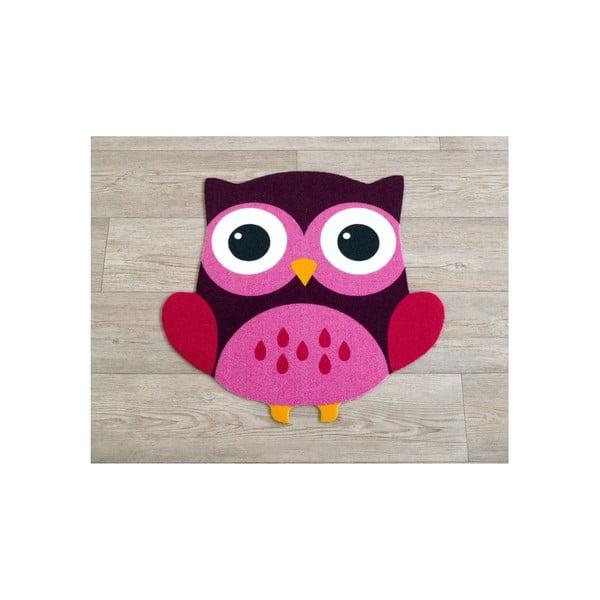 Koberec Owls - hnedo-ružová sova, 66x66 cm