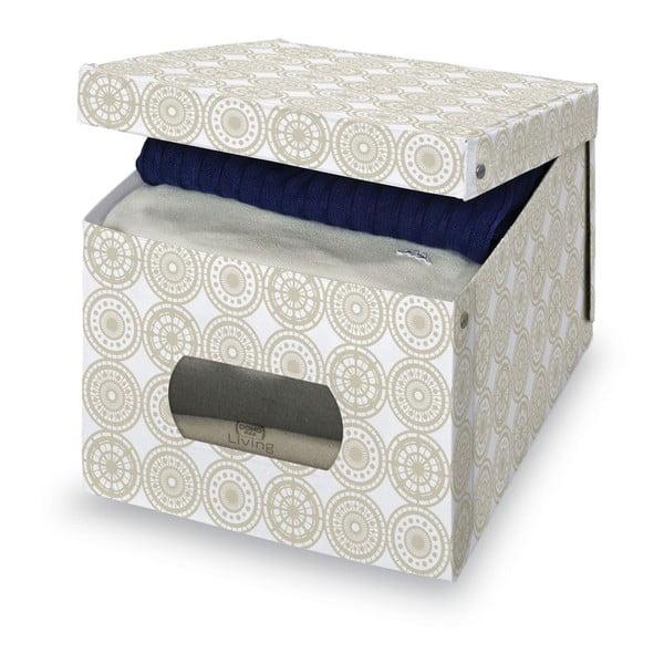 Béžový úložný box Domopak Ella, výška 31 cm