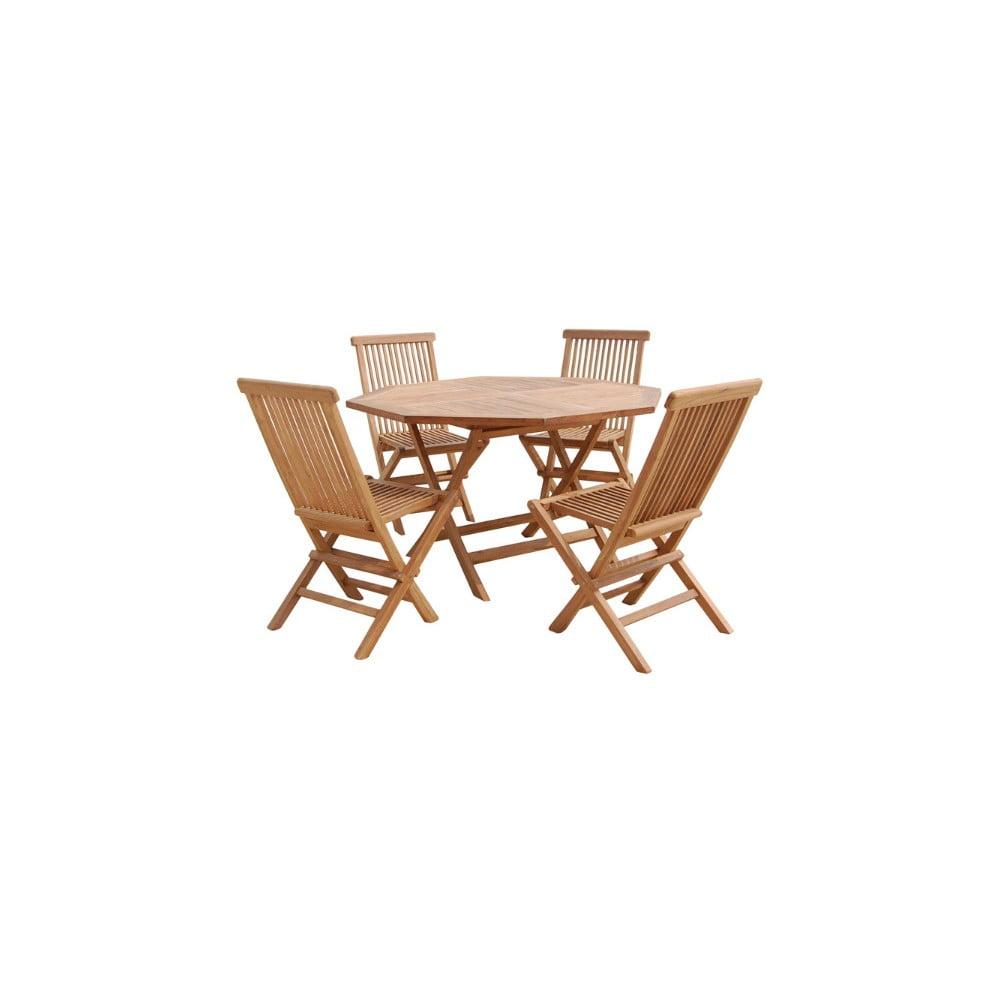 Vonkajší stôl so 4 stoličkami z teakového dreva Santiago Pons Fabio