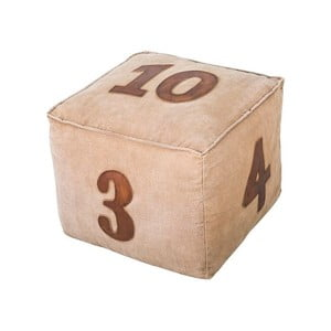 Kožený puf Antic Line Numéros, 40 × 40 cm