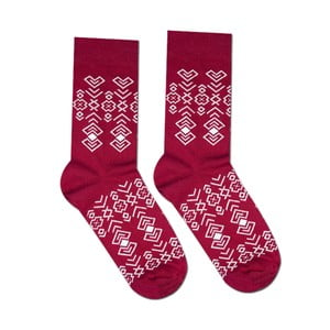 Červené bavlnené ponožky Hesty Socks Geometry, vel. 43-46