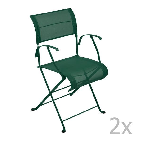 Sada 2 zelených skladacích stoličiek s opierkami na ruky Fermob Dune