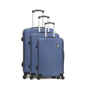 Sada 3 modrých cestovných kufrov na kolieskách Bluestar Vanity