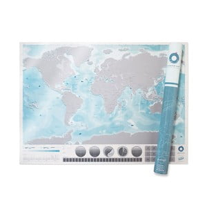 Stieracia mapa sveta Scratch Map Oceans Edition