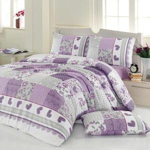 Sada obliečok a prestieradla Purple and Grey, 200x220 cm
