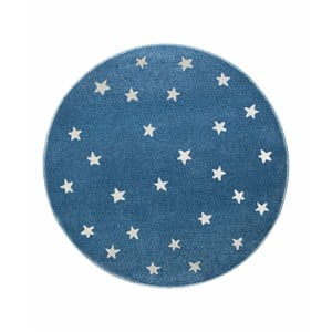 Modrý okrúhly koberec s hviezdami KICOTI Stars, 80 × 80 cm