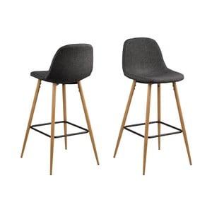 Čierna barová stolička s kovovým podnožím v dekore dubu Actona Wilma