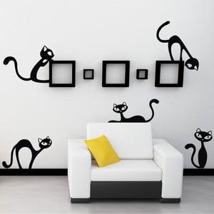 Samolepka na stenu Malé nezbedné mačky, čierna