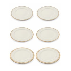 Sada 6 bielych vianočných dekoratívnych plastových tanierov Villa d'Este XMAS Piatto Blanco Bordo, ⌀ 33 cm