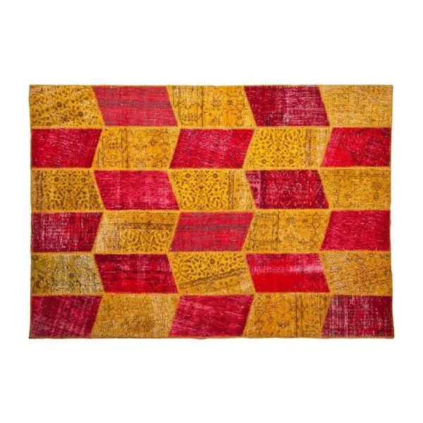 Vlnený koberec Allmode Yellow Red, 150x80 cm