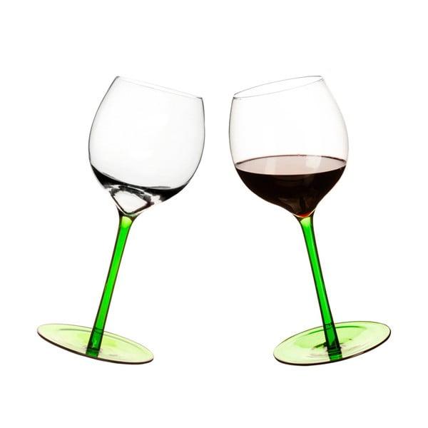 Sada 2 pohárov na víno s oblým dnom Sagaform, zelená