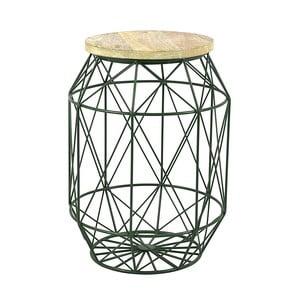 Zelený stolík s doskou zmangového dreva HF Living Dome