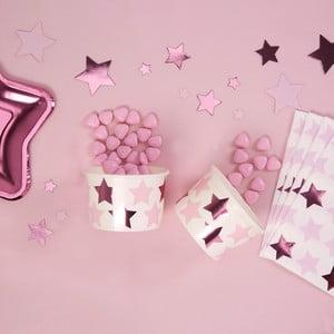 Sada 8 papierových nízkých pohárikov Neviti Little Star Pink