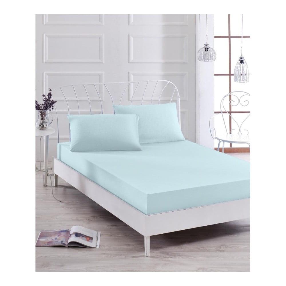 Set svetlomodrej elastickej plachty a obliečky na vankúš na jednolôžko Basso Azul, 100 × 200 cm