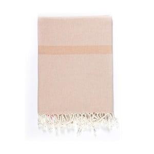 Béžovo-ružová osuška s prímesou bavlny Kate Louise Cotton Collection Line Beige Pink, 100 × 180 cm