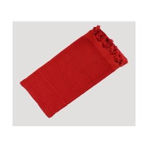 Červená ručne tkaná osuška z prémiovej bavlny Homemania Turkish Hammam, 90×180cm