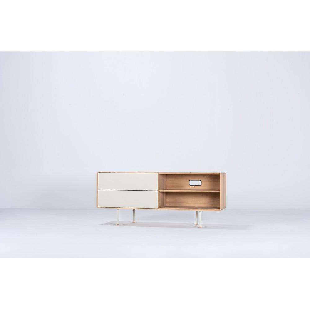 Biely TV stolík z dubového dreva Gazzda Mushroom, šírka 150 cm