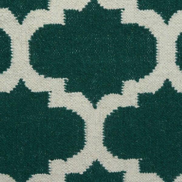 Vlnený koberec Geometry Guilloche Green & White, 200x300 cm