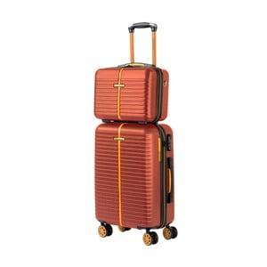 Set hnedého kozmetického kufríka a kufra na kolieskach Travel World