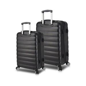 Sada 2 čiernych cestovných kufrov na kolieskach s USB porty My Valice RESSNO Cabin & Medium