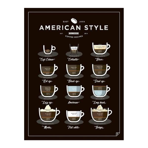 Čierny plagát Follygraph American Style Coffee, 30x40cm
