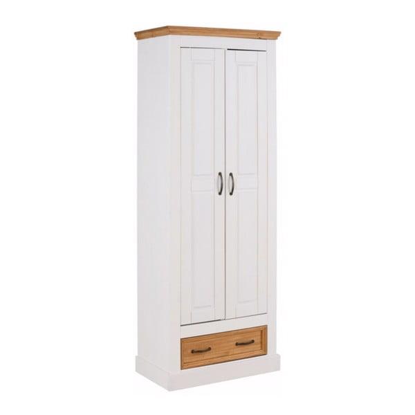 Biela dvojdverová šatníková skriňa z masívneho borovicového dreva Støraa Suzie