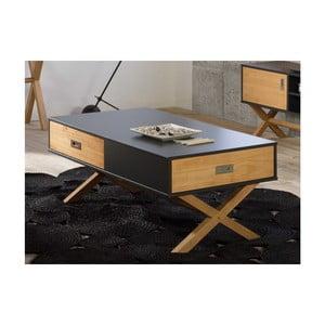 Hnedo-sivý konferenčný stolík zborovicového dreva SOB Leydo