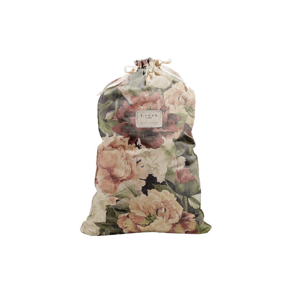 Látkový vak na prádlo Linen Bag Spring Flowers, výška 75 cm