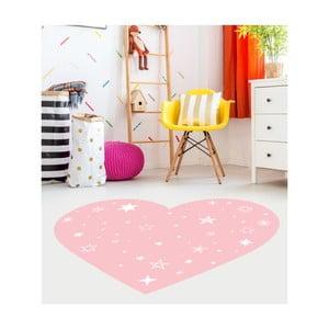 Ružový detský koberec Floorart Heart, 128 x 150 cm