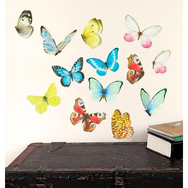 Samolepka na viac použití Watercolor Butterflies, 40x30 cm