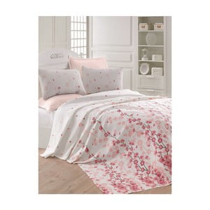 Ružovo-biela ľahká prikrývka cez posteľ Coretta LP, 200x235cm