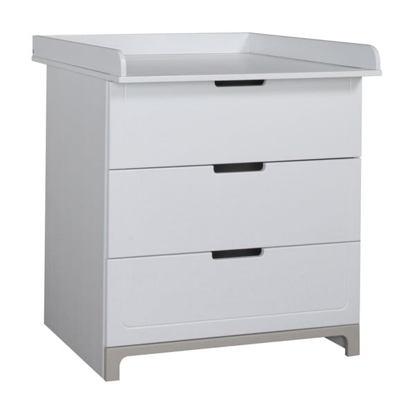 Bielo-sivá komoda s 3 zásuvkami Pinio Mini