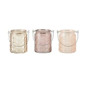 Sada 3 krémových svietnikov na čajovú sviečku KJ Collection Glass, 10 x 8 cm