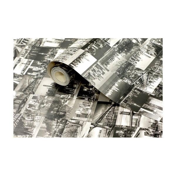 Tapetová rolka Čiernobiele mesto, 53x1005 cm