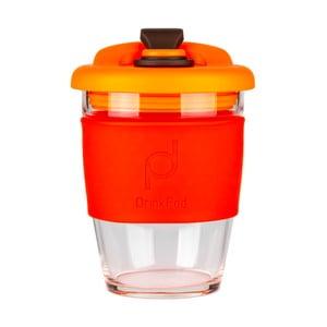 Červeno-oranžový cestovný hrnček na kávu Drink Pod Coffee, 340 ml